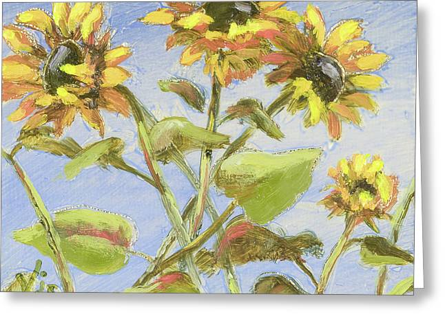 Greeting Card featuring the painting Pretty In Yellow II by Vic  Mastis