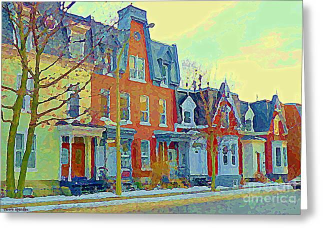 Pretty Row Houses Suburban Sidestreet Winter Pointe St Charles Montreal Art City Scenes C Spandau Greeting Card by Carole Spandau