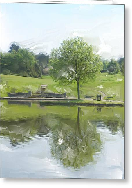 Pretty Tree In Park Picture.  Greeting Card by Christopher Rowlands