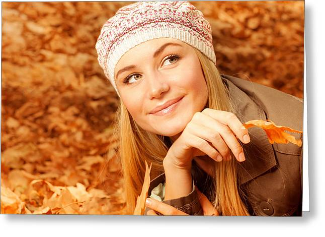 Pretty Woman On Autumnal Leaves Greeting Card