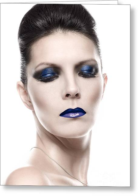 Pretty Young Woman In Blue Eye Shadow Makeup Greeting Card