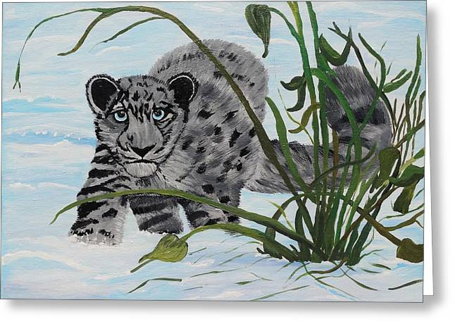 Preying In The Snow Greeting Card by Carol Hamby