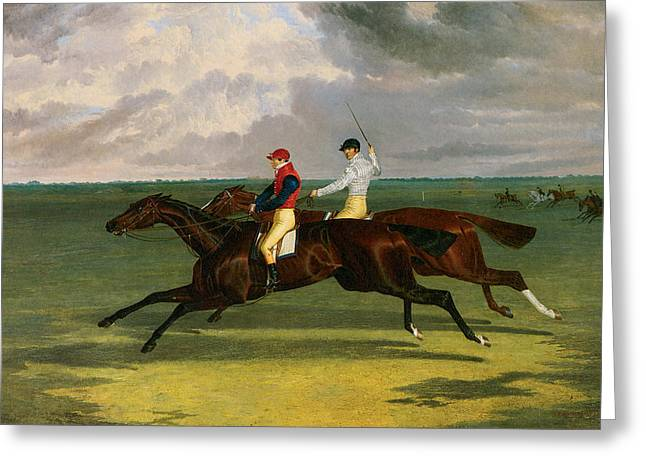 Priam Beating Lord Exeter's Augustus At Newmarket Greeting Card by John Frederick Herring
