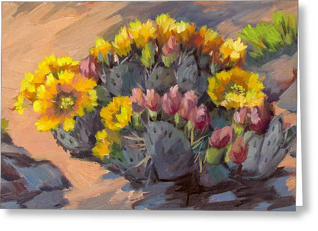 Prickly Pear Cactus In Bloom Greeting Card by Diane McClary