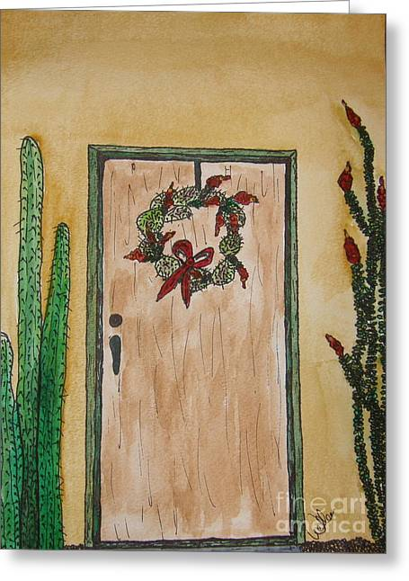Prickly Pear Wreath Greeting Card by Marcia Weller-Wenbert