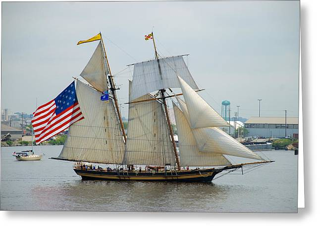 Pride Of Baltimore II Passing By Fort Mchenry Greeting Card
