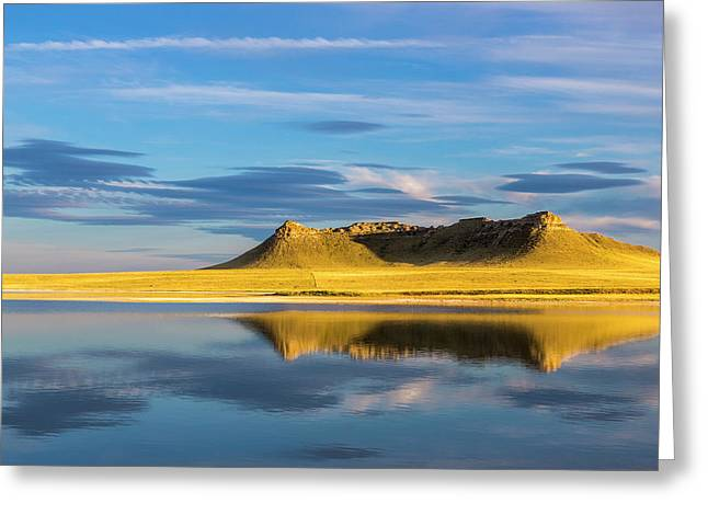 Priest Butte Reflects Into Wetlands Greeting Card by Chuck Haney