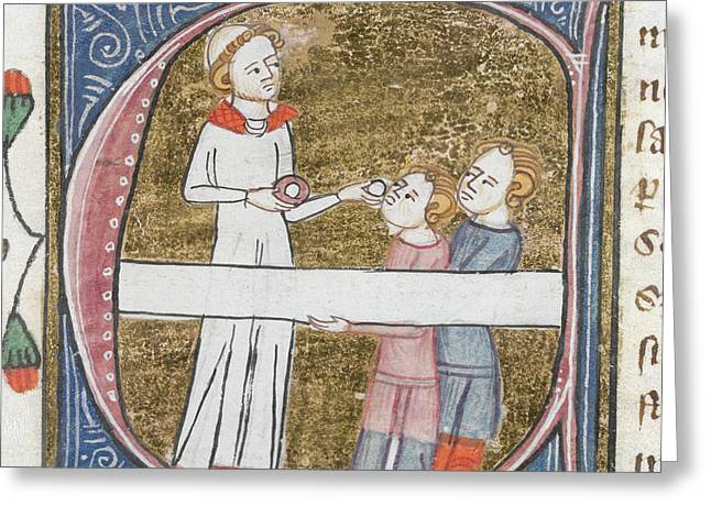 Priest Giving Communion Greeting Card by British Library