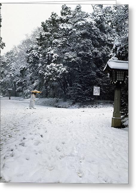 Priest In Meiji Shrine Park Greeting Card by Peter Larsen