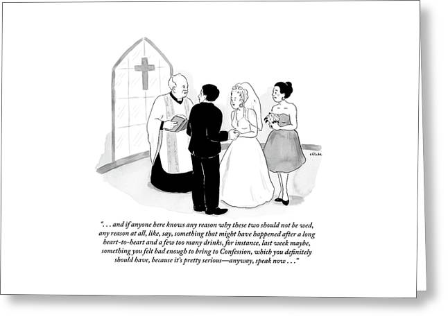 Priest Marries Man And Woman In Front Of A Large Greeting Card