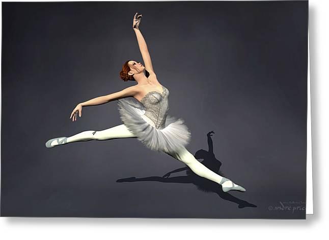 Prima Ballerina Nanashi Grand Jete Pose Greeting Card by Andre Price