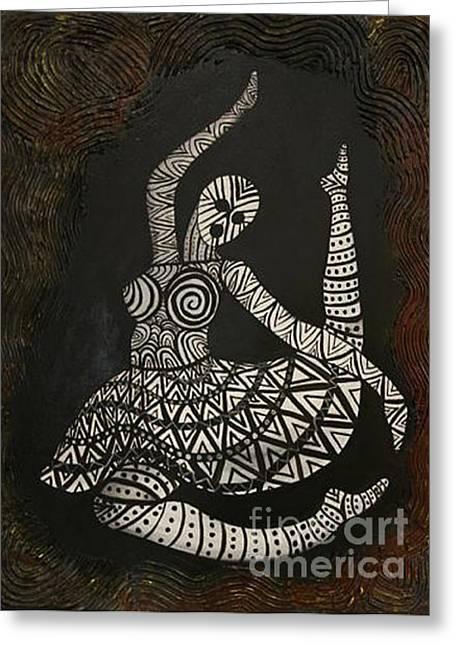 Greeting Card featuring the painting Primal Dancer Origin by Kristen R Kennedy
