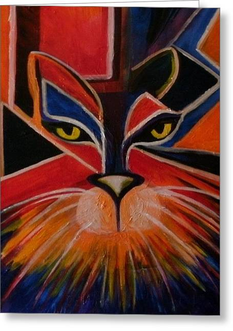 Primary Cat Greeting Card by Carolyn LeGrand