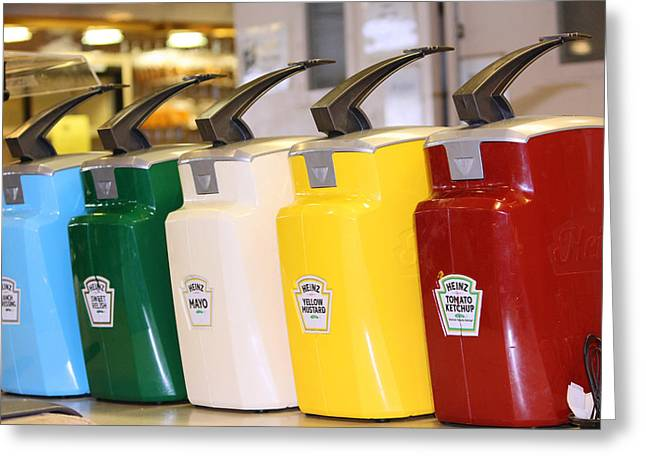 Primary Colors Of Condiments Greeting Card by Kym Backland