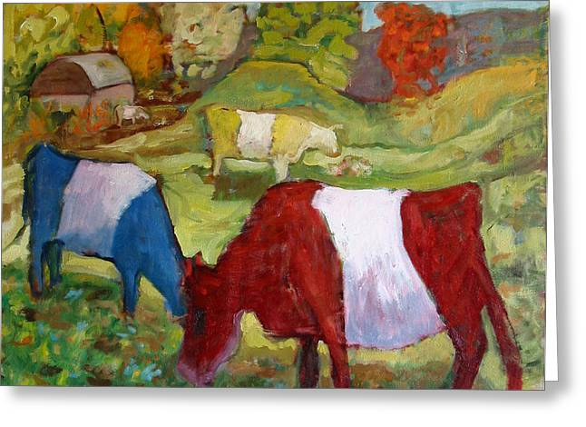Primary Cows Greeting Card