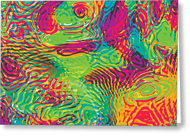 Primary Ripples In Green Greeting Card