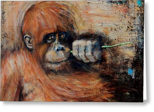 Primate Greeting Card by Jean Cormier