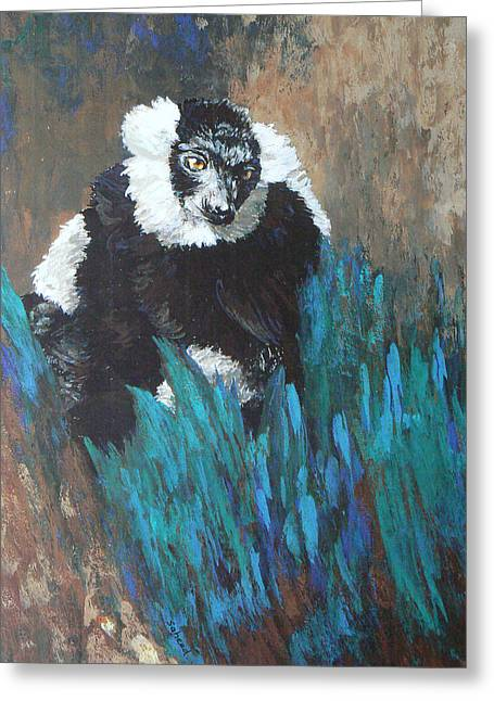 Greeting Card featuring the painting Primate Of The Madagascan Rainforest by Margaret Saheed