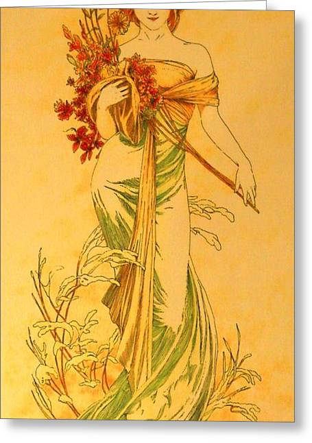 Primavera After Mucha Greeting Card by Tony Ruggiero