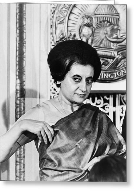 Prime Minister Indira Gandhi Greeting Card by Warren Leffler