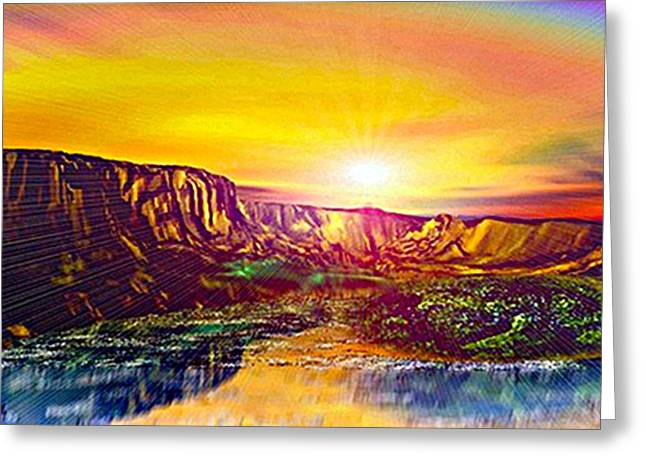Rainbow Dawn Over Primeval Tide  Life Begins V3 Greeting Card by Rebecca Phillips