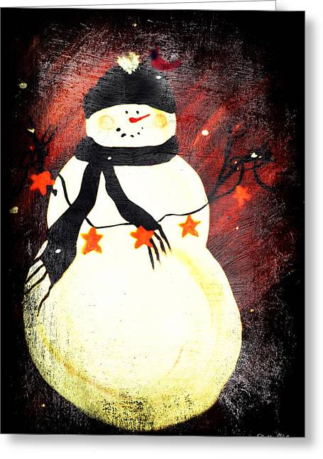 Primitive Happy Snowman Greetings Greeting Card by Chastity Hoff