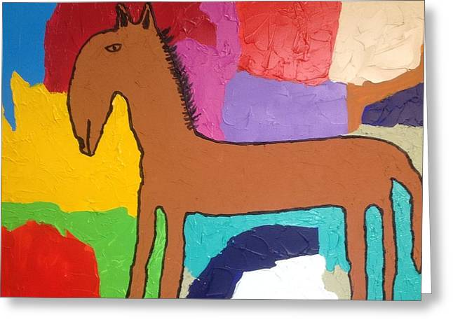 Primitive Horse Greeting Card by Russell Simmons