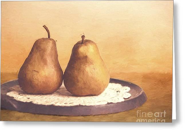 Primitive Pears  Greeting Card by KJ DeWaal