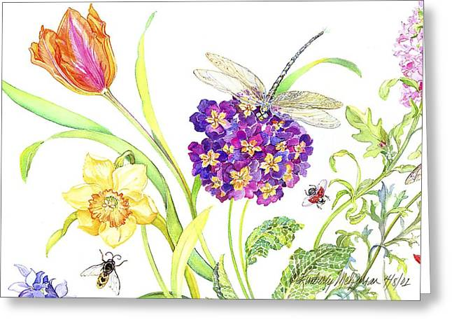 Primrose And Dragonfly Greeting Card by Kimberly McSparran