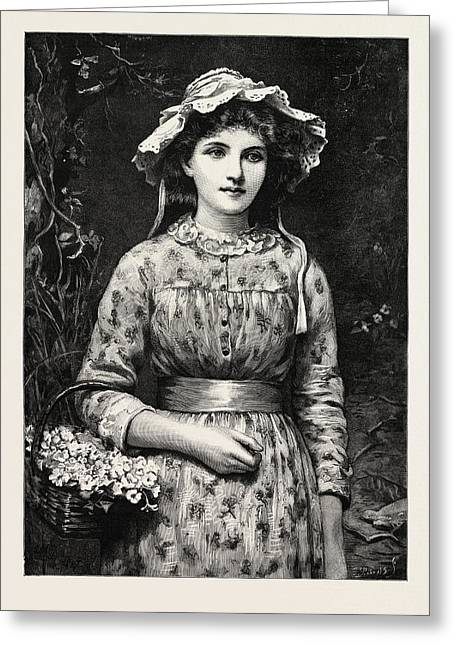 Primrose Day, Girl Greeting Card by English School