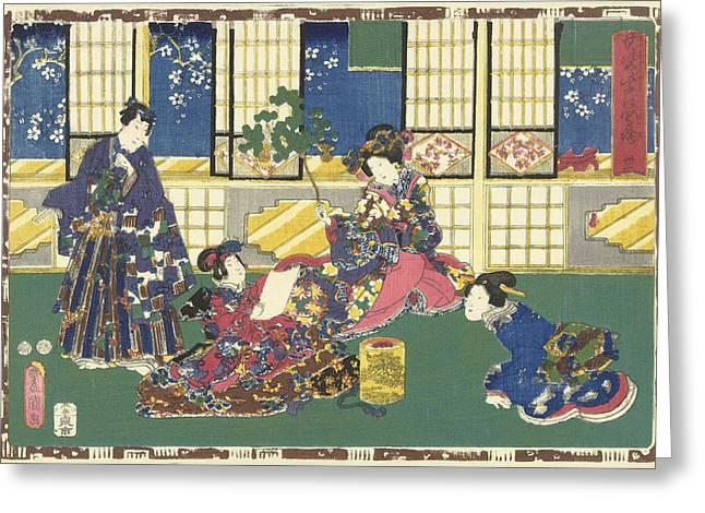 Prince Genji, An Elegantly Dressed Woman And A Maid Greeting Card by Kunisada (i) And Utagawa And Kinugasa Fusajiro And Murata Heiemon