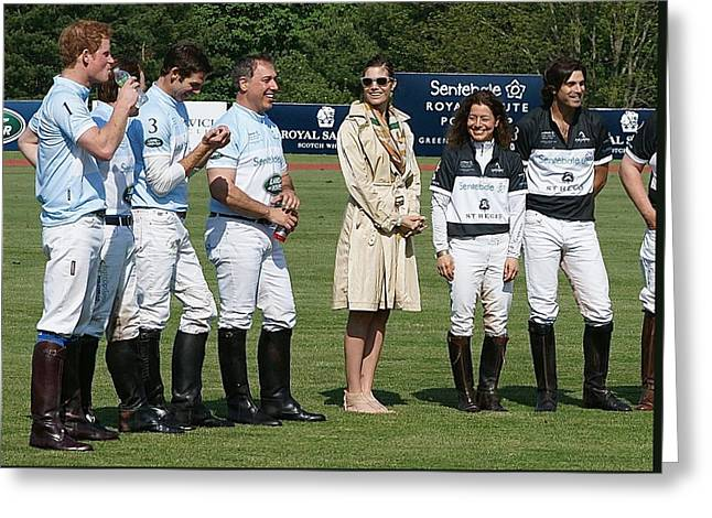 Prince Harry Delfina Belquier And Nacho Figueras Greeting Card