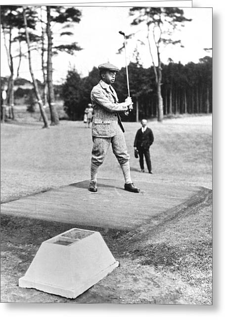 Prince Hirohito Golfing Greeting Card by Underwood Archives
