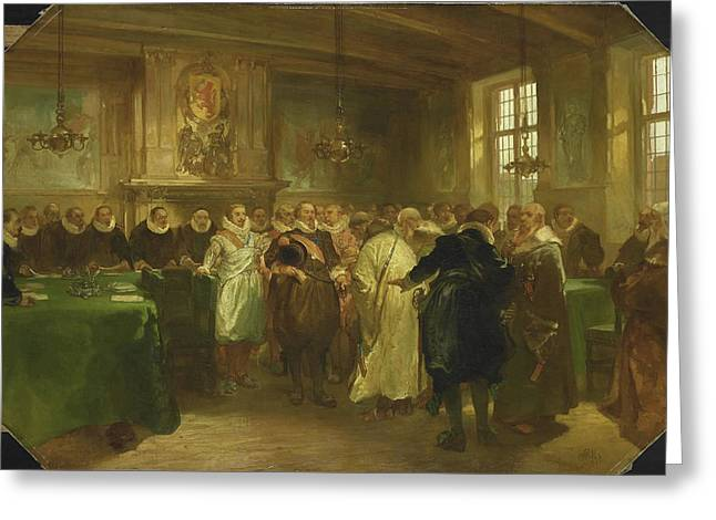 Prince Maurits Of Orange Receives A Delegation From Russia Greeting Card by Litz Collection