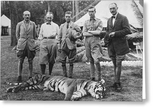 Prince Of Wales Kills Tiger Greeting Card by Underwood Archives