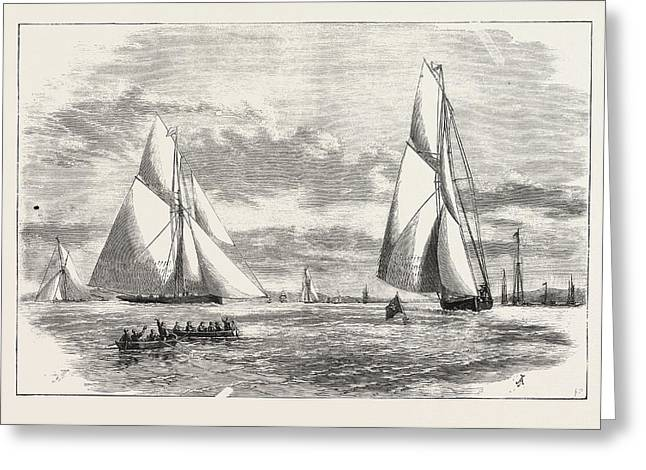 Prince Of Wales Yacht Club Regatta The Finish At Erith Greeting Card