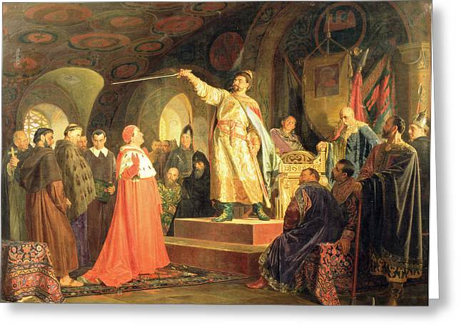 Prince Roman Of Halych-volhynia Receiving The Ambassadors Of Pope Innocent IIi, 1875 Oil On Canvas Greeting Card by Nikolai Vasilievich Nevrev