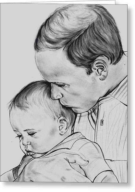 Prince William Holding Prince George Greeting Card