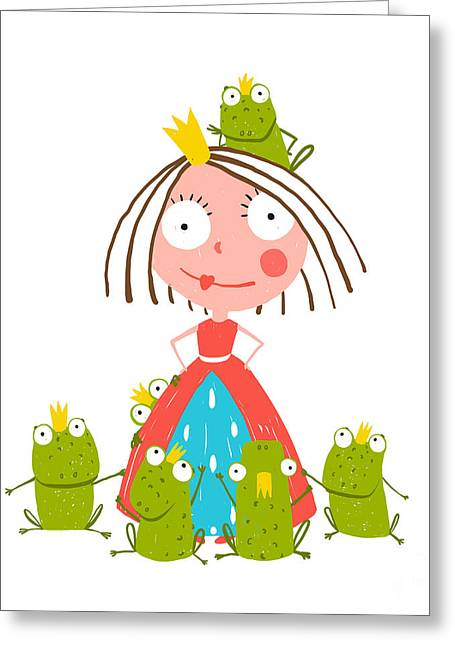 Princess And Many Prince Frogs Portrait Greeting Card