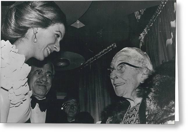 Princess Anne Meets Agatha Christie At Premiere Of Film Greeting Card by Retro Images Archive