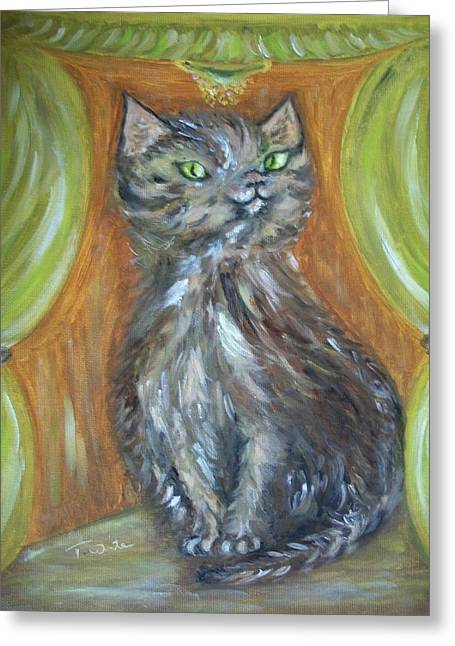Greeting Card featuring the painting Princess Kitty by Teresa White
