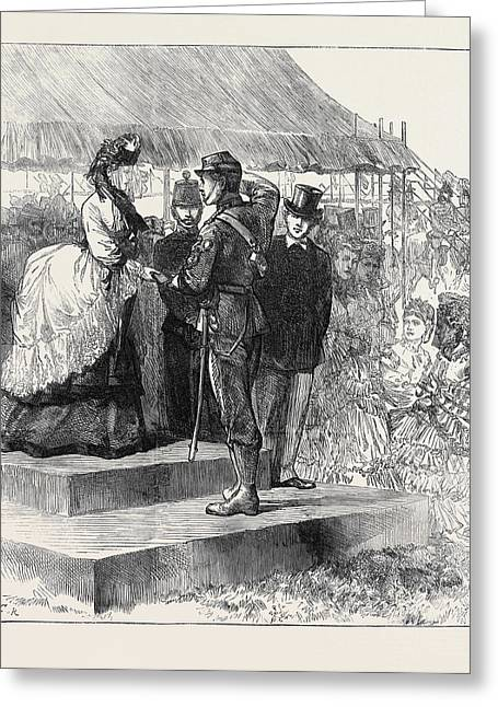 Princess Louise Presenting The Prizes At Wimbledon 1871 Greeting Card by English School