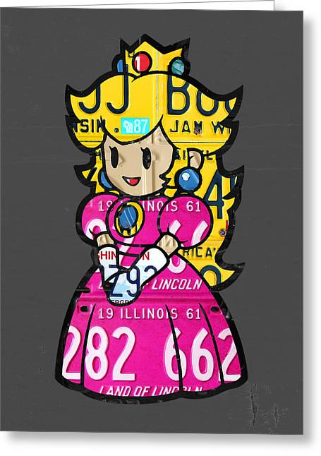 Princess Peach From Mario Brothers Nintendo Recycled License Plate Art Portrait Greeting Card by Design Turnpike