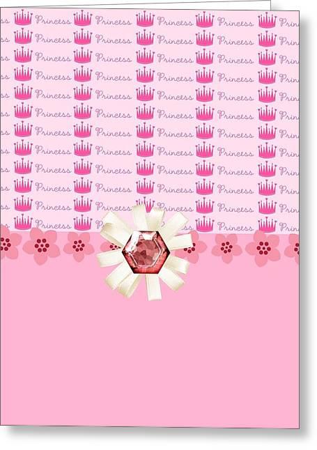 Princess Pink Crowns Greeting Card by Debra  Miller