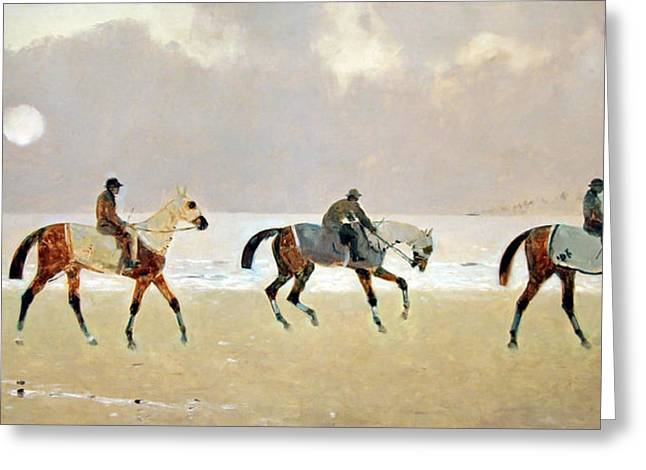 Princeteau's Riders On The Beach At Dieppe Greeting Card