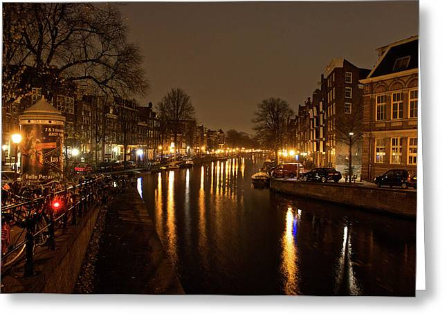 Prinsengracht Canal After Dark Greeting Card