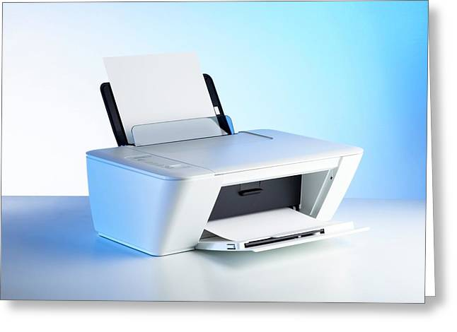 Printer Greeting Card by Science Photo Library