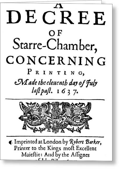 Printing Decree, 1637 Greeting Card