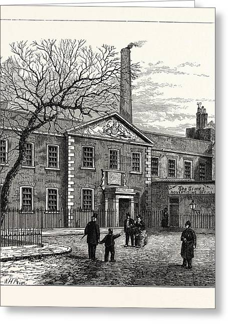 Printing House Square And The Times  Office 1870 London Greeting Card