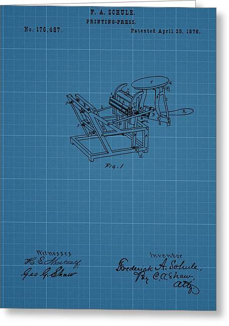 Printing Press Blueprint Patent Greeting Card by Dan Sproul